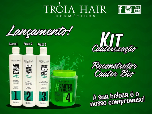 kit cauterização tróia hair cosméticos - produto original!