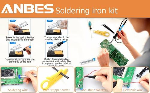 kit cautín soldador 60w punto lápiz temperatura regulable