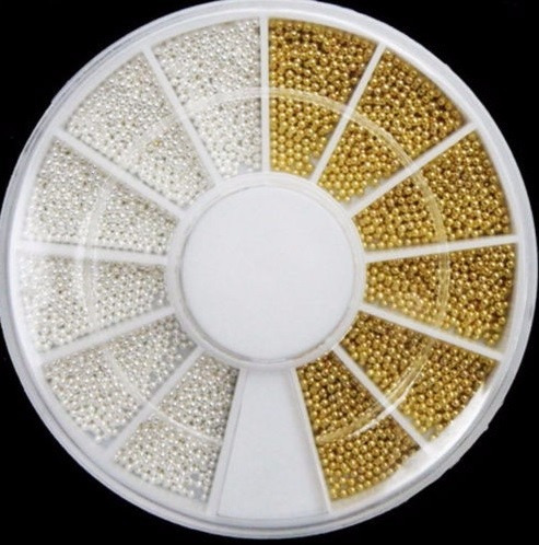 kit caviar prata dourado unha decoração jóia micro pérolas