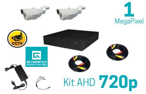 kit cctv 2 camaras bullet ahd 1 megapixel *listo instalar