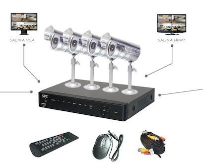 kit cctv 2 camaras con dvr de 4 canales, cables y fuente