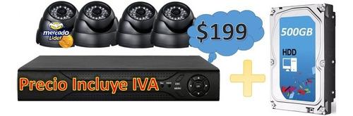 kit cctv 4 cámaras seguridad vigilancia + disco duro 500gb