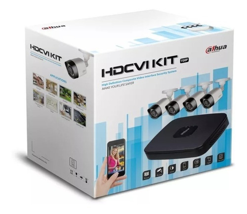 kit cctv dahua 4ch xvr4104 kit  camaras metal 720p con hd 1t