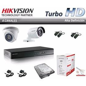 Kit Cctv Dvr 4 Ch Hikvision +2 Camaras Turbo Hd +disco 04301
