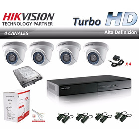 Kit Cctv Dvr Hikvision 4 Ch +4 Domos Turbo Hd + Disco -04304