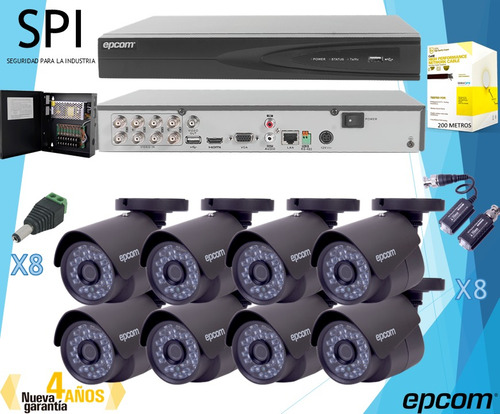 kit cctv epcom 8 cámaras hd 1080p b8turbox + dvr 8 canales