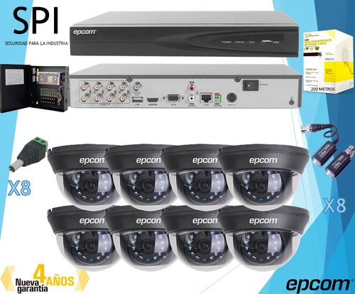 kit cctv epcom 8 cámaras hd 1080p d8turbo + dvr 8 canales