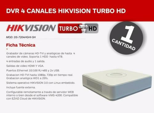 kit cctv hikvision turbo hd dvr mini 4 ch + 2 cámaras 720p