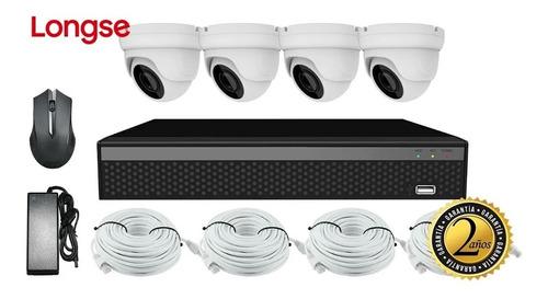 kit cctv longse nvr poe 2mp 4ch + 4 cámaras de seguridad