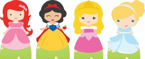 kit cenário display de chão princesas cute com 4 peças