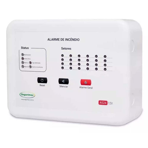kit central alarme incêndio 6 setor + 5 acionador + 5 sirene