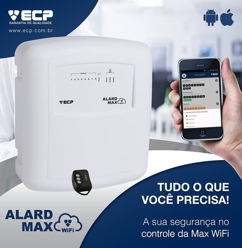 kit central alarme wifi ecp 10 sensores sem fio 8 setores