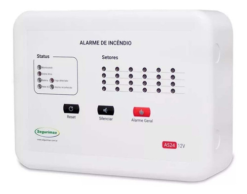 kit central incêndio 12 + acionador + detector + audiovisual