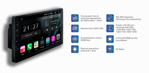 kit central multimidia lancer android 8 aikon atom