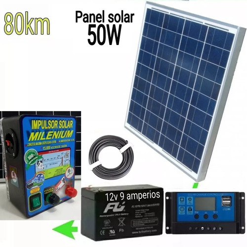 kit cerca electrica solar 80km panel 50w bateria 9a impulsor