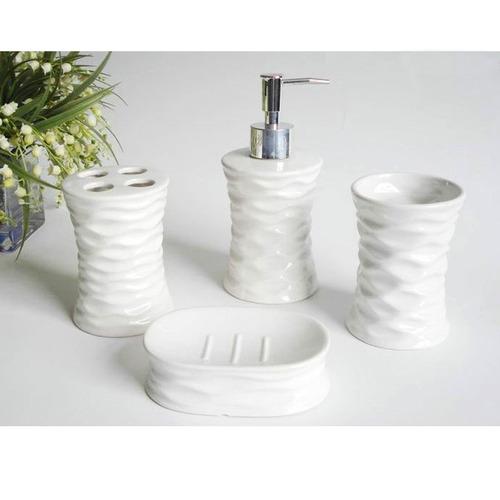 kit cerâmica 4 peças lavabo banheiro copo escova saboneteira