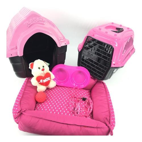 kit cães casinha pelúcia transporte cama peitoral coleira p