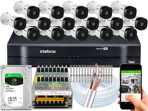 kit cftv 16 câmeras intelbras g4 multi hd 720p dvr mhdx 1116