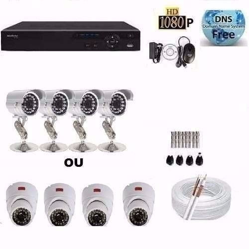 kit cftv 4 cameras infra ccd sony dvr 4 canais intelbras d1