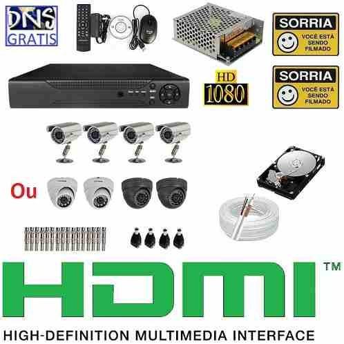 kit cftv 4 cameras infravermelho dvr 8 canais d1 960h + hd !