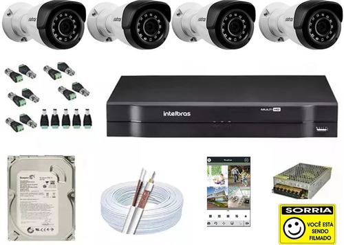 kit cftv 4 câmeras 1120 hd 720p 1mp dvr intelbras mhdx 1104