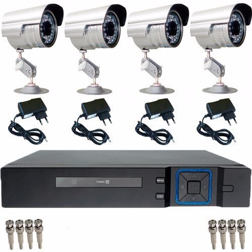kit cftv 4 câmeras acesso via smartphone sem hd e cabo