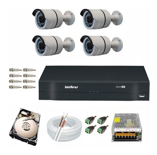 kit cftv 4 câmeras infra gravador dvr intelbras 1104 mult hd