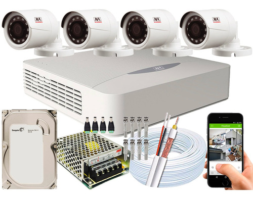 kit cftv 4 câmeras jfl chd-1130p multi hd 720p 1mp dvr 04 ch