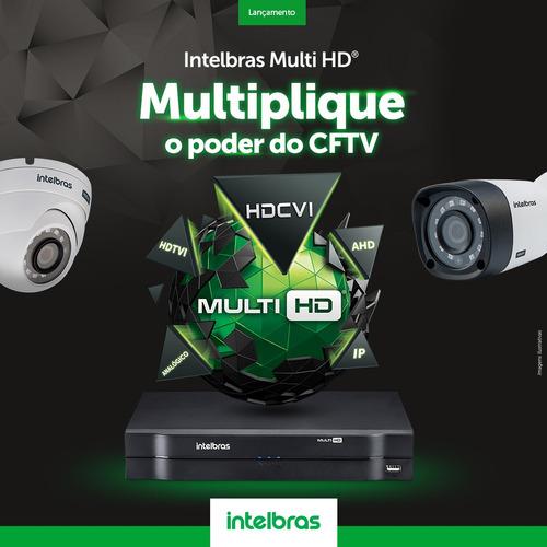 kit cftv 4 câmeras multi hd 720p 1mp dvr intelbras mhdx 3004
