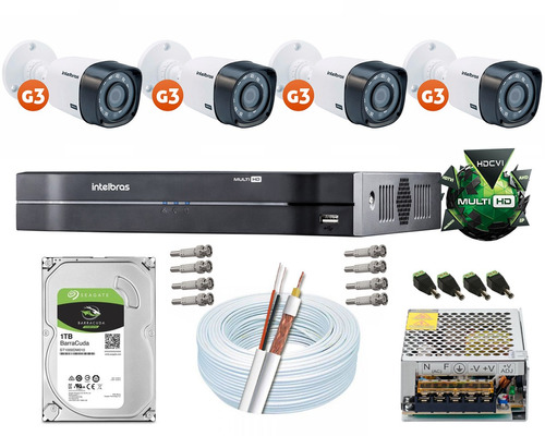 kit cftv 4 câmeras multi hd 720p dvr 4 canais intelbras 1004