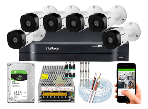 kit cftv 6 câmeras intelbras 1220b full hd 2mp mhdx 1108 10a