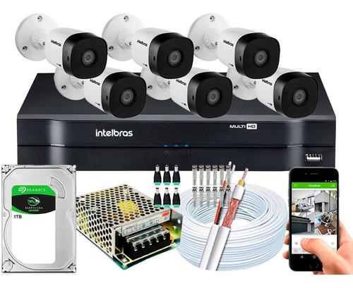 kit cftv 6 câmeras intelbras vhd 1220b full hd 1080p 20m 2mp