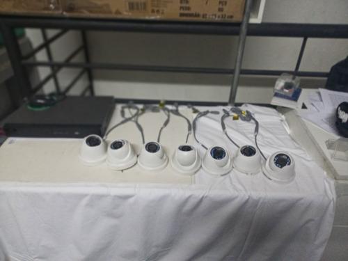 kit cftv 7 câmeras hd 720p + dvr hikvision 4 portas seminovo