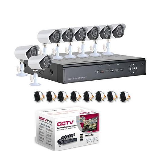 kit cftv 8 cameras infra verm dvr h.264 vigia casa segurança