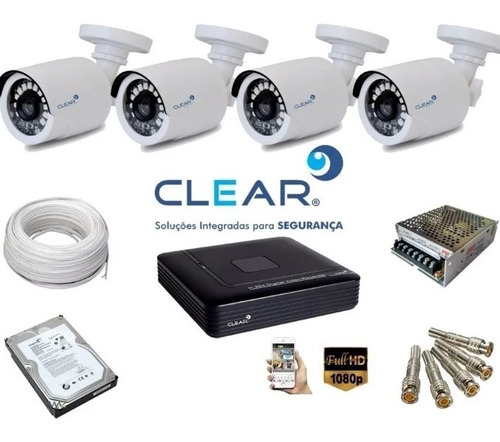 kit cftv clear 4 canais fullhd 1080p completo
