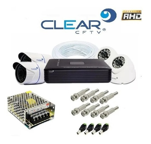 kit cftv clear ahd 4 cameras 720p completo para instalar