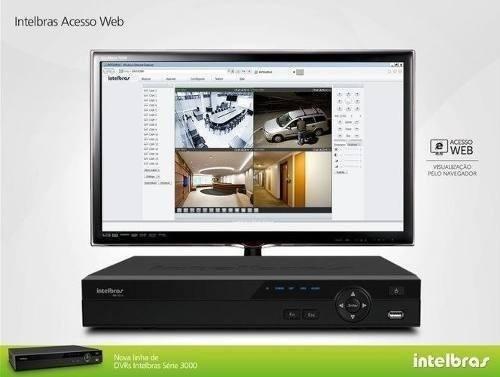 kit cftv dvr intelbras+5 cameras infra 30m ahd 720p+fonte+cb