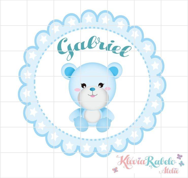 kit chá de bebê ursinho azul personalizada para imprimir