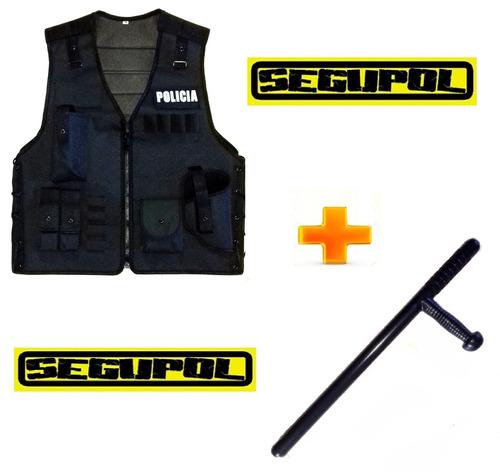 kit chaleco táctico policial + tonfa