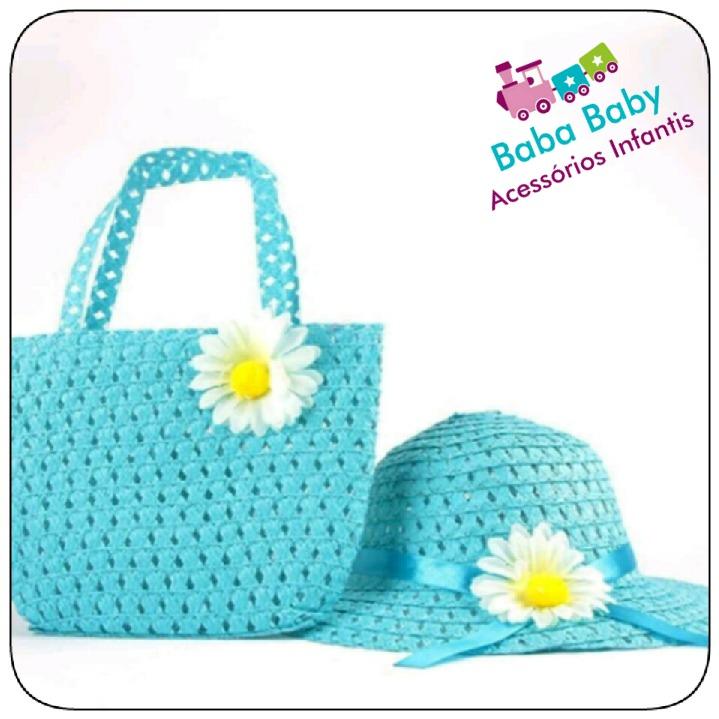 21e1cde30ecf2 Kit Chapéu De Praia Palha Infantil Piscina + Bolsa Azul - R  19
