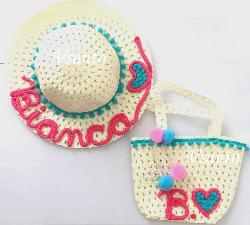 kit chapéu e bolsa de praia infantil personalizado. Carregando zoom. 0c4642407b0