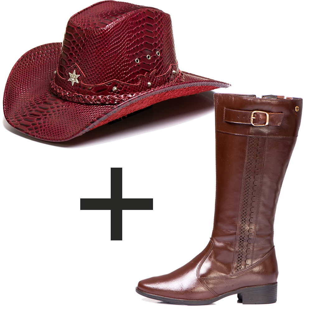 kit chapeu feminino vermelho country bota ta montaria couro. Carregando  zoom. 05891c434c1