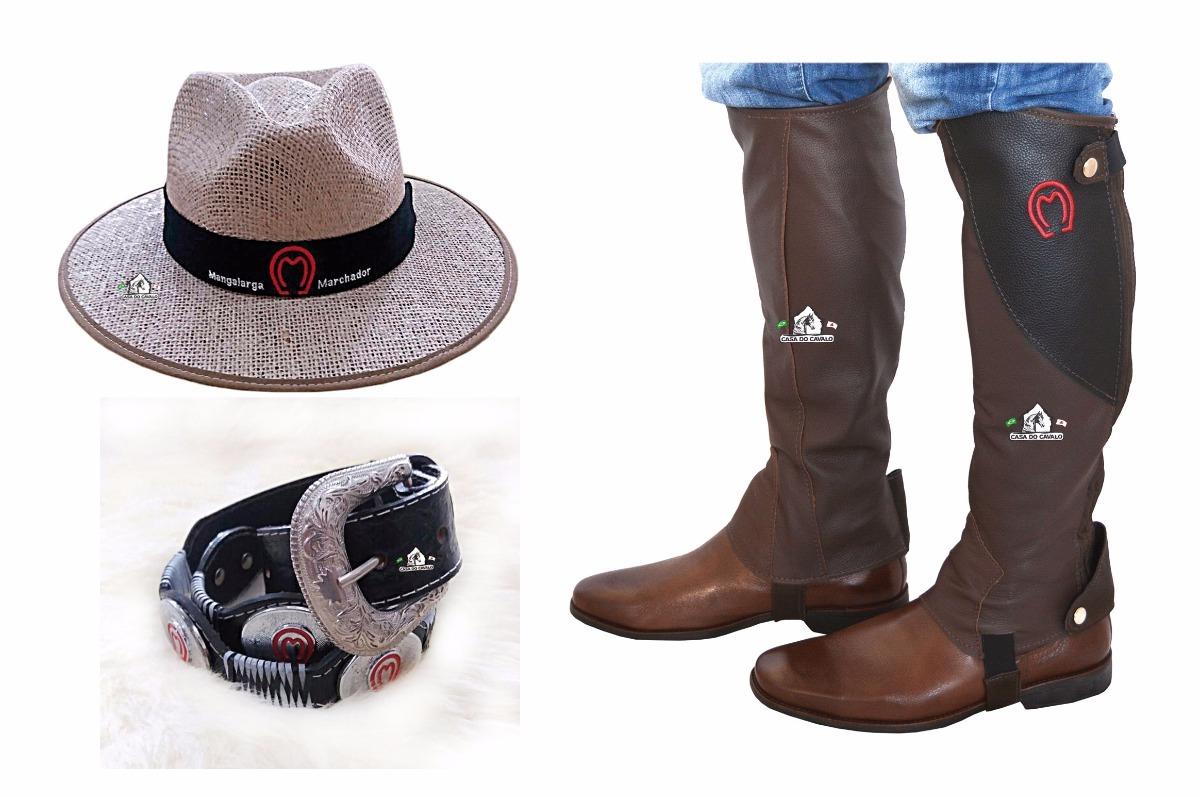 61ccb607cda2d kit chapéu manglarga + perneira mangalarga marchador + cinto. Carregando  zoom.