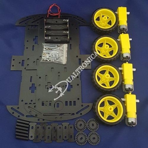 kit chasis carro 4wd, robot plataforma movil edición black