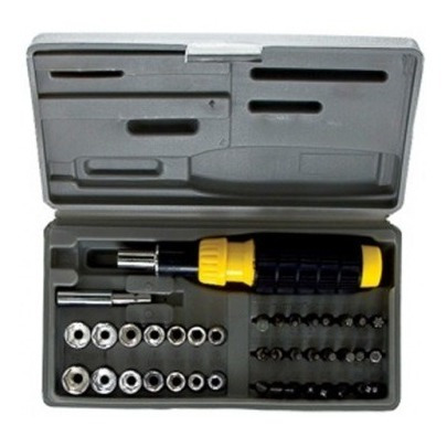 kit chave catracada emborrachada bits 40 peças + maleta