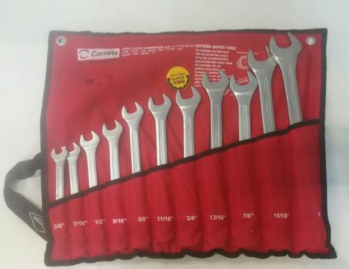 kit chave combinada boca stria corneta 11 peças 3/8  até 1