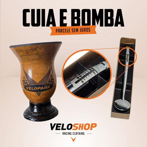 kit chimarrão velopark - cuia e bomba personalizados