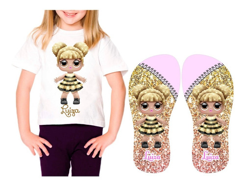 kit chinelo e camiseta personalizada lol queen bee com nome