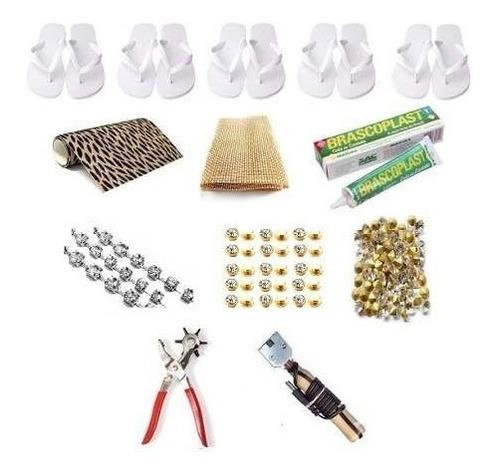 kit chinelos + strass+ manta+cola+lonita+ponto luz+frisador