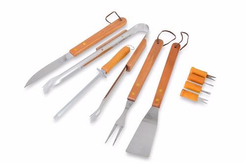 kit churrasco 10 pçs madeira bolsa de nylon *frete gratis*